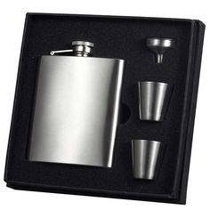 Visol Derek Satin Finish 8oz Deluxe Flask Gift Set Set of 6 * Click image for more details.