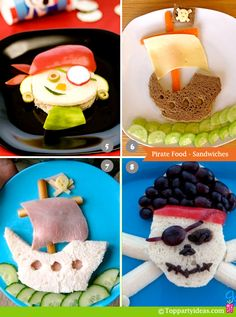Reyes, for Joshies party! Pirate Party Food - Pirate Sandwich, Ship Sandwich, Fun Foods For Parties or Kids Lunch. Pirate Food, Pirate Day, Pirate Theme, Pirate Kids, Cute Food, Good Food, 11 September 2001, Kid Sandwiches, Comida Diy