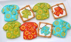 Hawaiian Shirt Cookies by @SweetSugarBelle {Callye Alvarado}