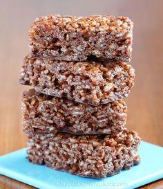 No-Bake Nutella Rice Crispy Treats - surprisingly healthy! http://chocolatecoveredkatie.com/2013/04/09/healthy-chocolate-nutella-rice-crispy-treats/