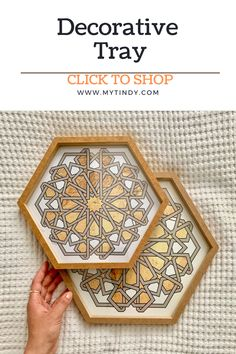 Your primping space has never looked this good! With a golden tray with Arabian pattern, our Hexagonal Decorative Golden Tray is a chic place to keep all your favorite accessories!