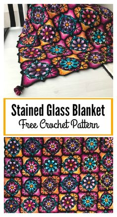 Stained Glass Flowers Afghan Blanket Free Crochet Pattern #freecrochetpatterns #crochetblanket