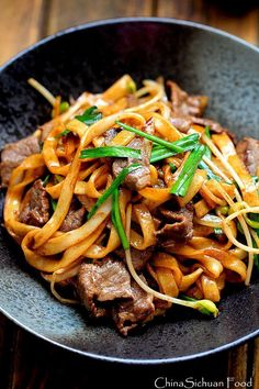 {Asian}beef chow fun-pan-fried rice noodles with beef #chinesefoodrecipes