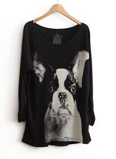 Black Long Sleeve Dog Print Loose T-Shirt