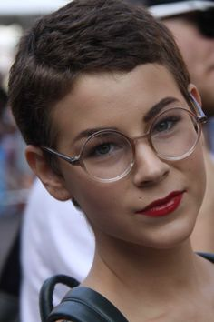 This supershort style on Etsy vintage queen and stylist Samantha Sunderhuse is one of the coolest things we've seen all summer—literally. Love those specs!  #refinery29 http://www.refinery29.com/hair-stalking-mega-inspiring-styles-from-real-girls#slide-5