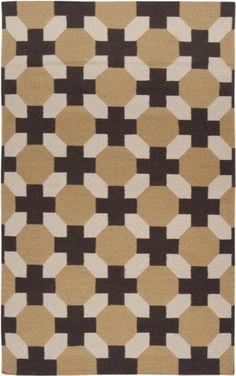 RugStudio presents Surya Archive ACH-1716 Parchment/Espresso/Cumin Flat-Woven Area Rug