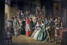 Charles IX and the French Court on the Morning of Saint Bartholomew's Massacre. Highly fictionalized 19th century painting - no cardinal were in town except for the Cardinal de Bourbon who married Marguerite and his nephew Henri IV. The others were gone to ome to elect a new pope.