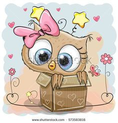 Valentine card with a Cute Owl girl in a box