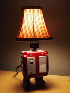 Vintage table or desk lamp USB charging station by BossLamps