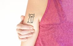 Geometric cat - Temporary tattoo (Set of 2)