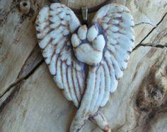 Paw Print Angel Wing Porcelain Pendant 4