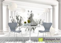 Photo wallpaper, Animals - Horses and the tunnel Wallpaper Please, Retail Space, Photo Wallpaper, Fresco, Wall Murals, Latex, Dining Table, Chair, Furniture