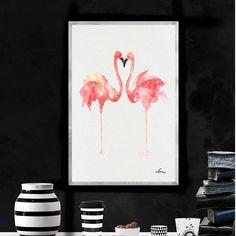 Flamingo Watercolor Art Print Flamingo Watercolor Painting
