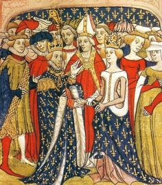 Maria of Brabants marriage with the French king Philip III of France, miniature in the manuscript Chroniques de France ou de St. Denis, British Library, London.  Date:  End of 14th century. Artist unknown