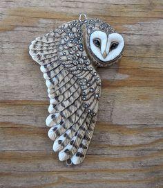 "Porcelain Barn Owl ""Maya"" by Laura Mears Owl Jewelry, Ceramic Jewelry, Wooden Jewelry, Jewellery, Jewelry Accessories, Polymer Clay Creations, Polymer Clay Crafts, Polymer Clay Jewelry, Wood Carving Art"