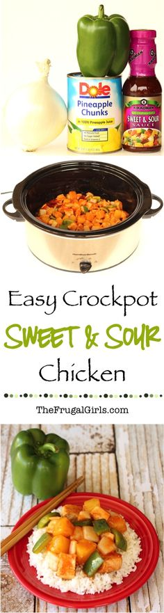 Easy Crockpot Sweet and Sour Chicken Recipe! - from TheFrugalGirls.com ~ this asian infused Slow Cooker dinner is so simple and seriously delicious! Go grab your Crock Pot! #slowcooker #recipes #thefrugalgirls