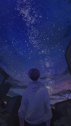 Beautiful art anime boy ideas for 2019 Aesthetic Anime, Aesthetic Art, Hd Sky, Anime Galaxy, Sky Anime, Wow Art, Anime Scenery, Galaxy Wallpaper, Cover Wallpaper