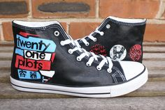 2a5e794b15d8 Twenty One Pilots hand painted canvas high tops by Eleanorsplace Twenty One  Pilots Concert
