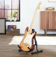 A-Frame Stand for Acoustic - Gadgets Info Best Acoustic Electric Guitar, Electric Guitars, Wooden Guitar Stand, Ukulele Stand, Bedroom Gadgets, Types Of Guitar, Guitar Hanger, Fingerstyle Guitar, Frame Stand