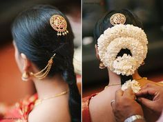 Ideas south indian bridal hairstyles for reception wedding makeup South Indian Bride Hairstyle, Indian Bridal Hairstyles, Bride Hairstyles, Cut Hairstyles, Bridal Braids, Bridal Updo, Bridal Headpieces, Indian Bridal Makeup, Wedding Makeup