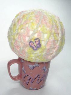 Easter Baby Crochet Hat  with Butterfly Applique in by toppytoppy, $12.99