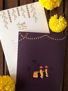 illustrated wedding invitations, cute indian wedding invitations, indian wedding invites, unique indian wedding invite, Radha Ramachandran illustrator