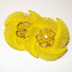 Vintage Bright Canary Yellow Soft Plastic Flower Earrings