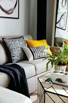 11 Best Yellow Cushions Images Grey Yellow Gray Yellow Guest Rooms