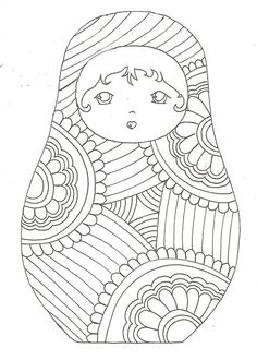"iColor ""Kokeshi Dolls"" etc. Embroidery Patterns, Hand Embroidery, Matryoshka Doll, Kokeshi Dolls, Coloring Book Pages, Digi Stamps, Coloring For Kids, Printable Coloring, Paper Dolls"