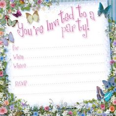 Free printable butterfly party invitation template from PrintablePartyKits.com