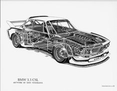 BMW 3.5 CSL Cutaway Drawing by Shin Yoshikawa