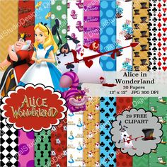 Alice in Wonderland Digital Paper Pack  30 by DigitalStudioDesigns
