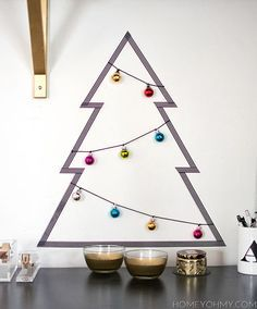 DIY washi tape Christmas tree with ornaments