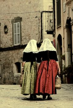 Europe | Portrait of two women wearing traditional clothes, Valldemossa, Mallorca, Spain