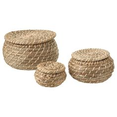 IKEA - FRYKEN, Box with lid, set of seagrass sea grass, Seagrass has natural color variations which makes every basket unique. Each box is unique since it is handmade. height and 1 pc dia. Storage Boxes, Storage Baskets, Small Storage, Storage Containers, Wash Basin Accessories, Bathroom Accessories, 365 Jar, Lohals, Kallax Shelf