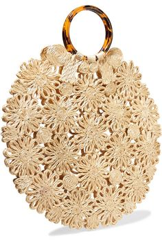 Crocheted straw, tortoiseshell resin Open top Weighs approximately Bag Pattern Free, Straw Tote, Square Rings, Jute Bags, Ancient Greek Sandals, Crochet Handbags, Summer Bags, Knitted Bags, Hand Crochet