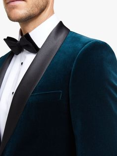 Buy John Lewis & Partners Italian Velvet Shawl Lapel Slim Fit Dress Suit Jacket, Teal, from our Men's Blazers range at John Lewis & Partners. Free Delivery on orders over 3 Piece Suit Wedding, Bow Tie Wedding, Wedding Suits, Mens Velvet Suit, Velvet Jacket Men, Three Piece Suit, 3 Piece Suits, Teal Suit, Velvet Shawl