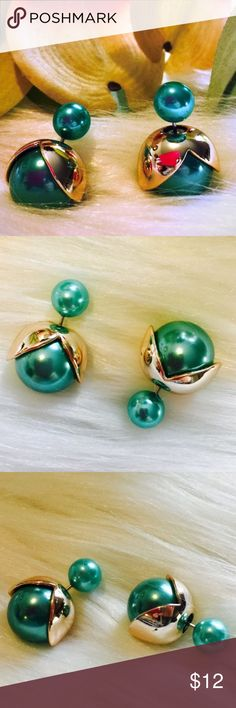 """🌺 🆕 Teal W/ Gold Petals Double Sided Ball Studs Brand New Boutique Item In Packaging And Mesh Bag.. Shiny Blue/Green Turquoise With Gold Plated Petals. Sterling Silver Post, So Perfect For Sensitive Ears! Measuring Approximately 0.5"""". Boutique Jewelry Earrings"""