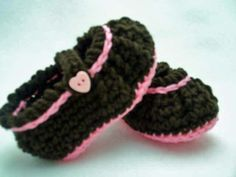A personal favorite from my Etsy shop https://www.etsy.com/listing/90282988/baby-mary-jane-booties-brown-pink