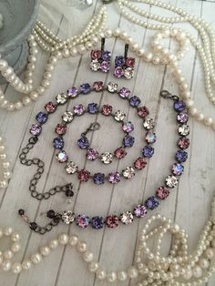 Mixed Purple and Plum Swarovski Crystal Tennis Necklace. Swarovski Crystal Necklace, Swarovski Jewelry, Crystal Bracelets, Crystal Jewelry, Swarovski Crystals, I Love Jewelry, Jewelry Design, Jewelry Making, Hand Jewelry