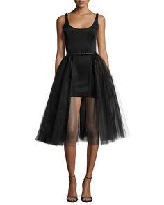 TASBE Halston Heritage Sleeveless Belted Cocktail Dress w/ Tulle Overlay, Black