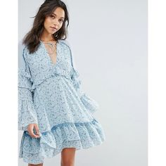 Stevie May The Mystic Smock Billow Printed Mini Dress ($300) ❤ liked on Polyvore featuring dresses, multi, blue mini dress, blue fit-and-flare dresses, flare dresses, bell sleeve dress and mini dress