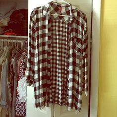 """Long shirt from H&M Size Small, the length is 32"""". Worn once. Great condition! H&M Tops Button Down Shirts"""