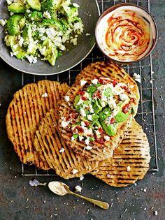 Quick Flatbreads with Avocado & Feta Bread Recipes Jamie Oliver Avocado Recipes, Veggie Recipes, Lunch Recipes, Cooking Recipes, Healthy Recipes, Veggie Food, Healthy Meals, Cooking Tips, Healthy Food