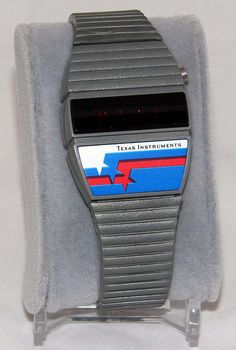 Vintage Texas Instruments Men's Red LED Electronic Watch, Made In USA, Circa 1970s.