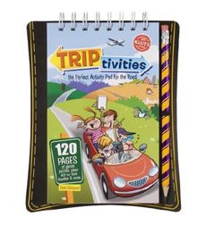 Triptivities:  puzzles, mazes, doodle pages, word games, stickers, & more in a flip-pad! Comes with it's own pencil.
