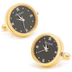 Gold Stainless Steel Functional Watch Cufflinks