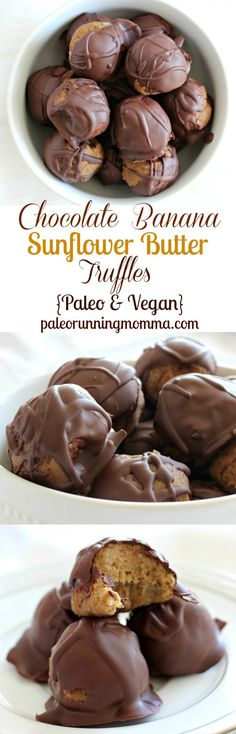 Chocolate Banana Sunflower Butter Truffles - Dark chocolate dipped no-bake #paleo and #vegan truffles made with creamy sunflower butter and ripe bananas #glutenfree #grainfree #dairyfree