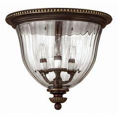 Hinkley Lighting 3612 3-Light Cambridge™ Narrow Flush Mount Ceiling Light, also pewter $389