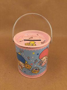 Vintage Sanrio Little Twin Stars Tin Coin Piggy Bank Bucket Pink Blue 1988 Japan